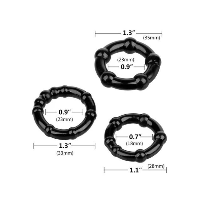 3 Farklı Boyda Süper Esnek Siyah Penis Halkası