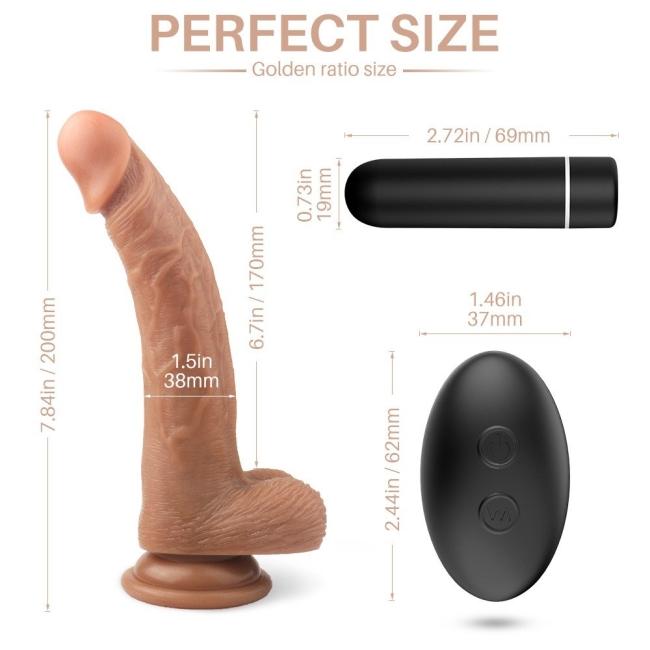 Croods-Rct 20 Cm Kumandalı 9 Fonksiyonlu Titreşimli Damarlı Realistik Penis