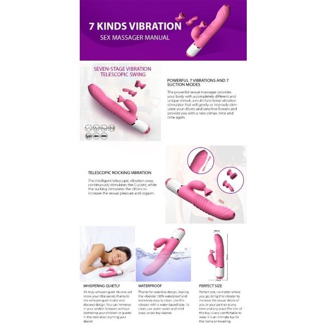Db Ella İleri Geri Hareketli&Emiş Yapabilen Klitoris Uyarıcı Rabbit Vibratör
