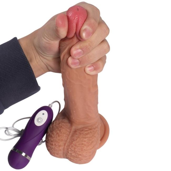Dean's Extra Gerçekçi 21 cm 10 Modlu Titreşimli Belden Bağlamalı Realistik Penis