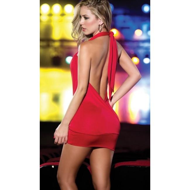 Dekolteli Kırmızı Mini Elbise
