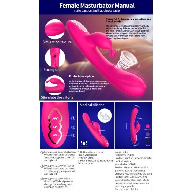 Dibe 7 Modlu Titreşimli Klitoris Uyarıcı G-Spot Emişi Yapabilen Şarjlı Vibratör