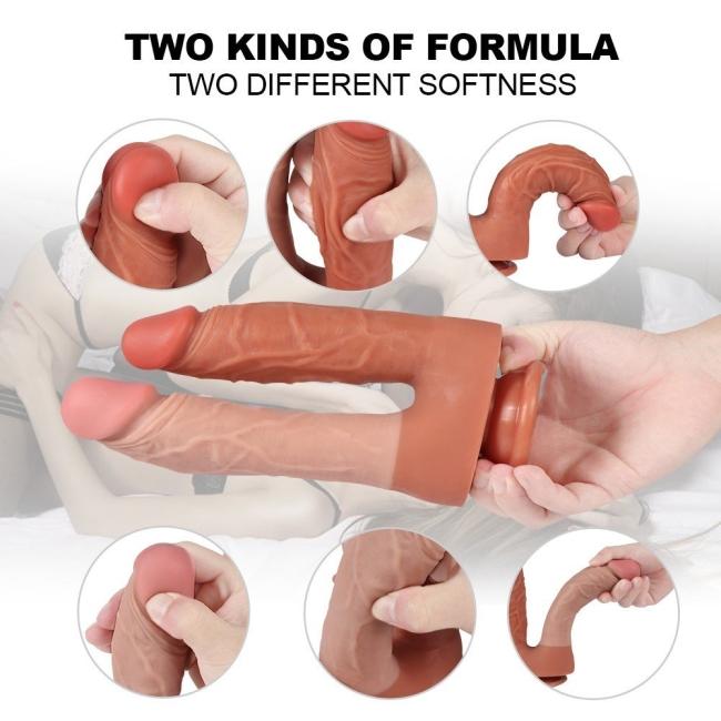 21 Cm Yumuşak Esnek Realistik Double Çift Başlı Belden Bağlamalı Penis