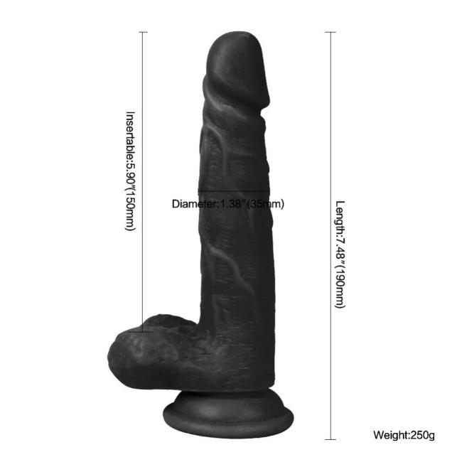Dildo Series Fairy Dragon 19 Cm Belden Bağlamalı Realistik Siyah Penis