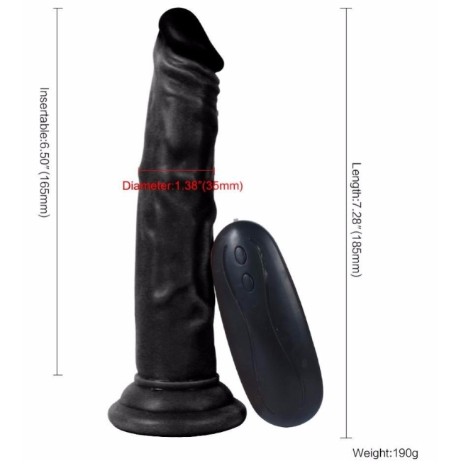 Dildo Series Siyah 19 Cm 10 Modlu Anal ve Vajinal Kullanılabilen Realistik Penis