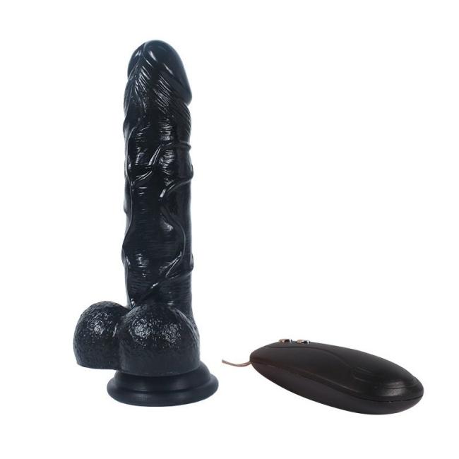 Dildo Series Siyah 19 Cm 10 Modlu Titreşimli Belden Bağlamalı Realistik Penis