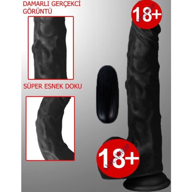 Dildo Series Siyah Hero 21 Cm 10 Modlu Titreşimli Strap On Realistik Penis