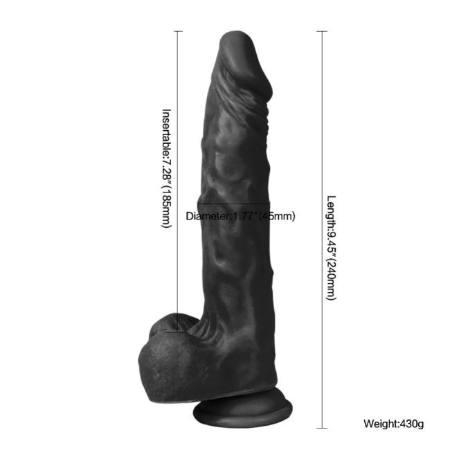 Dildo Series Siyah Hero 23 Cm Esnek  Realistik Penis Dildo