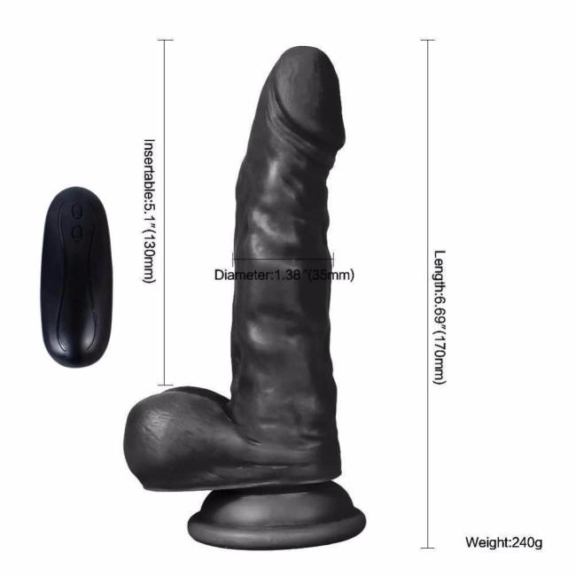 Dildo Series Siyah Hunk 15 Cm 10 Modlu Belden Bağlamalı Titreşimli Realistik Penis