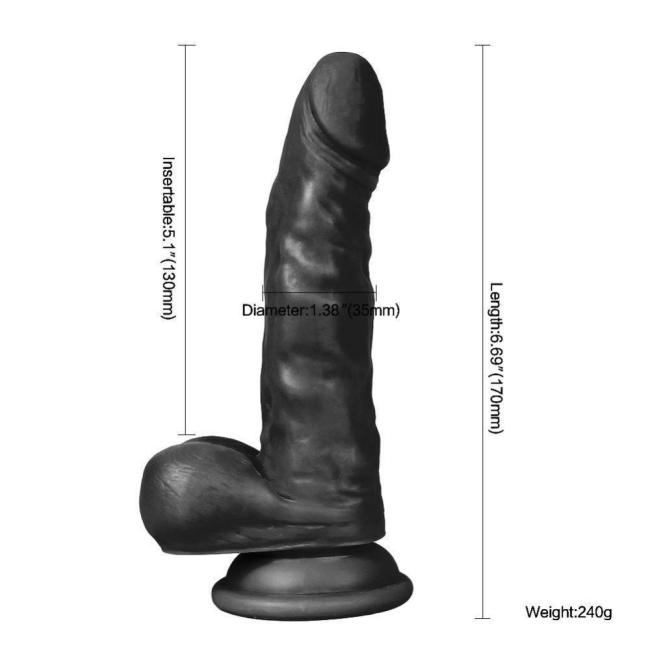 Dildo Series Siyah Hunk Eagle 17 Cm Belden Bağlamalı Realistik Penis