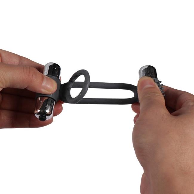 Esnek Silikon Yapılı Çok Güçlü Titreşimli Double Penis Halkası Ring