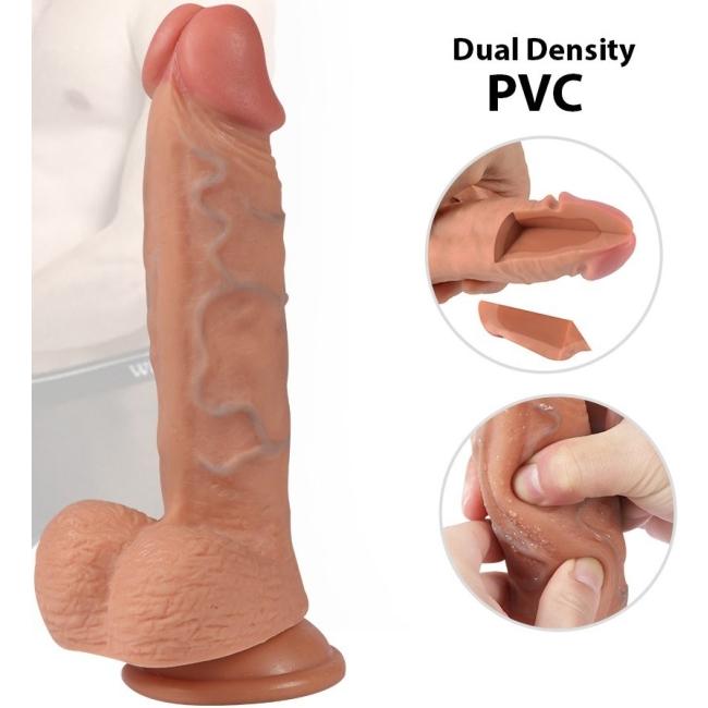 Ekstra Yumuşak Çift Katmanlı Et Dokulu Realistik 21 Cm Penis Dildo