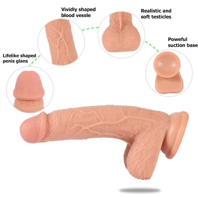 Extra Yumuşak Çift Katmanlı Soft Pürüzsüz Silikon 19 Cm Belden Bağlamalı Penis