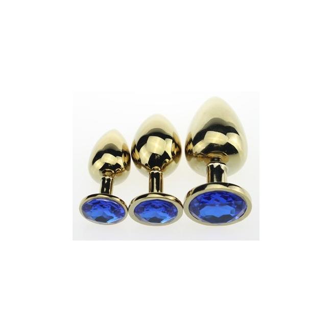 Gold Metal Taşlı Küçük-Orta-Büyük Boy 3 Anal Plug Seti