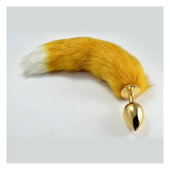 Gold Kuyruklu Tüylü Anal Metal Large Plug 10 cm Anal Tıkaç Tıpa
