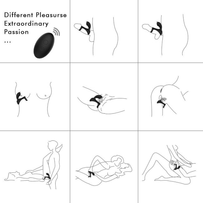 Hifun-Rct Kumandalı 9 Modlu Titreşimli Klitoris Uyarıcı Şarjlı Penis Halkası