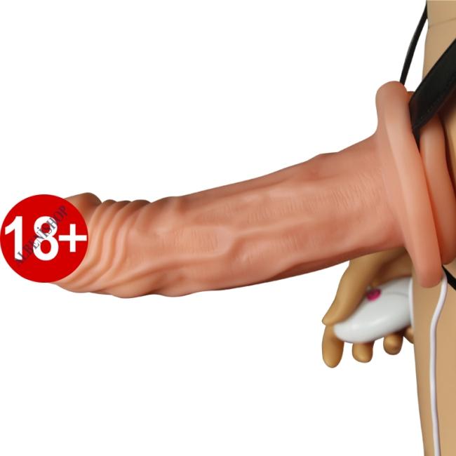 İçi Boş Titreşimli Unisex Kullanılabilen 17 Cm Belden Bağlamalı Penis