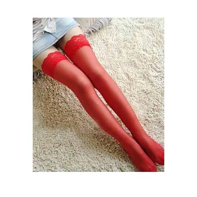 Kırmızı Düz Silikonlu Dantelli Jartiyer Çorap