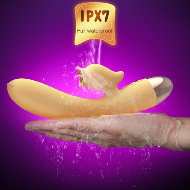 Leten G-Bölgesi ve Klitoris Uyarıcı 7 Modlu Titreşimli Dil Hareketi Yapabilen Sarı Vibratör