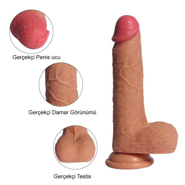 Little Dean 20 cm Çift Katman Ekstra Yumuşak Belden Bağlamalı Penis