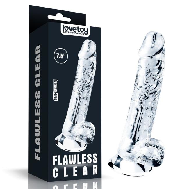 Love Toy Flawless Clear 19 Cm Yumuşak Şeffaf Jel Dildo
