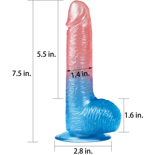 Love Toy Çift Renkli Ultra Yumuşak 19 Cm Jel Dildo