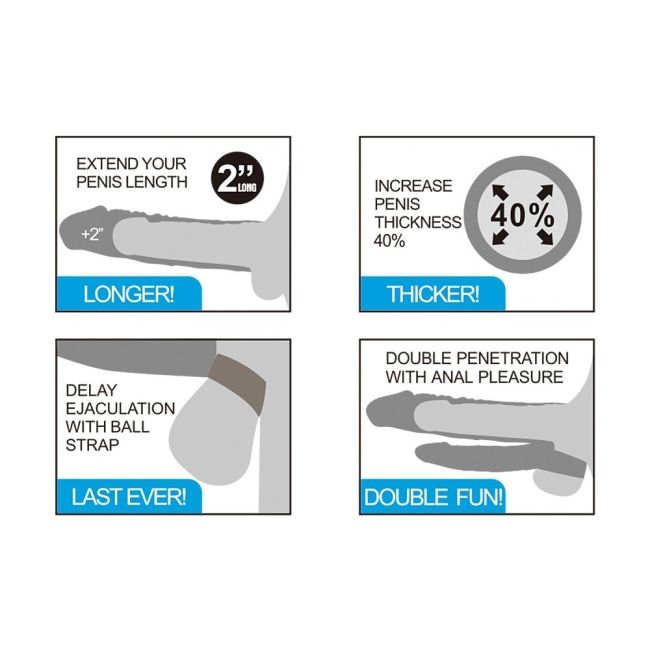 Lovetoy X-Tender 19 Cm Realistik 5 Cm Uzatmalı Double Penis Kılıfı-LV314101