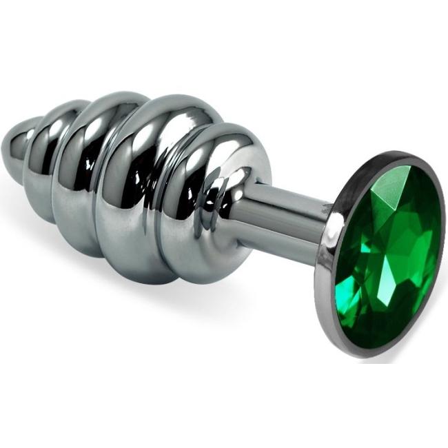 LoveToy Yeşil Taşlı Silver Metal Kıvrımlı Anal Plug