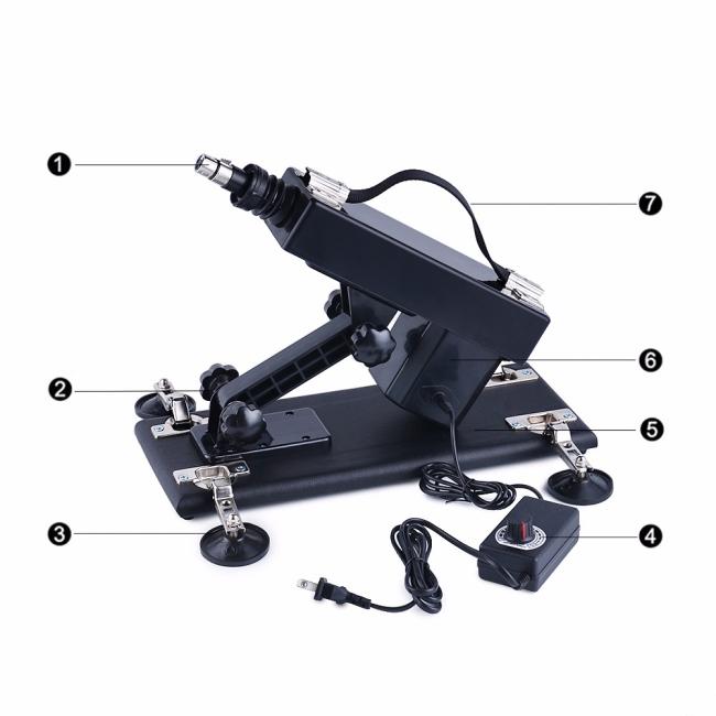 Machine Gun Ayarlanabilir Çok Güçlü Vantuzlu Seks Makinesi +2 Vibratör+1 Vajina Başlık
