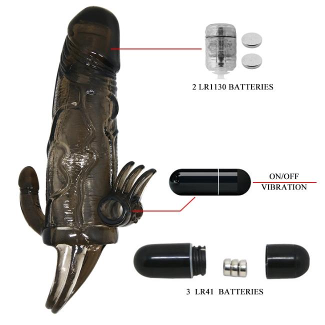 Man Çif Titreşimli Testis Halkalı Klitoris Uyarıcı Penis Kılıfı