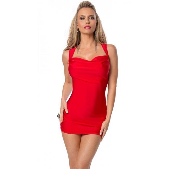 Kırmızı Sırt Dekolteli Süper Mini Elbise Kırmızı Standart