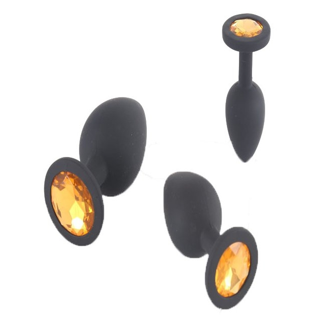 Özel Siyah Slikon Taşlı Küçük-Orta-Büyük Boy 3 Anal Plug Seti