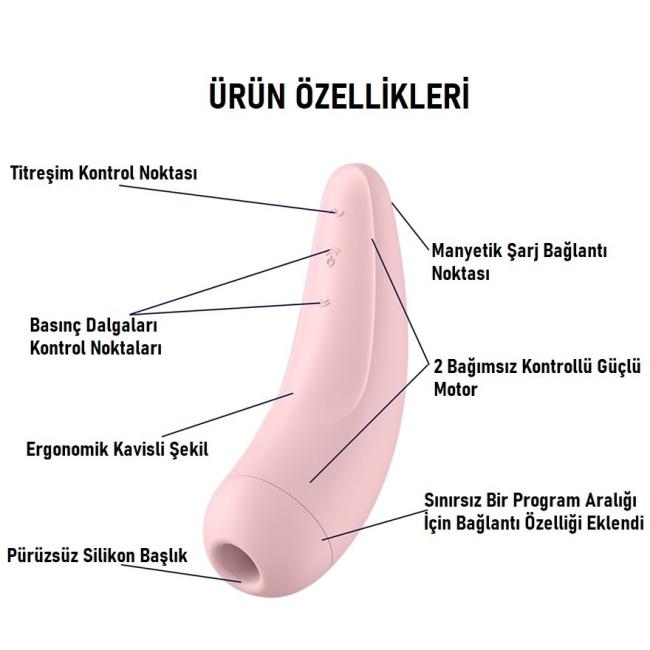 Satisfyer Curvy 2+ Pink Klitoris Stimülatörü ve App Kontrol Titreşimli Vibratör