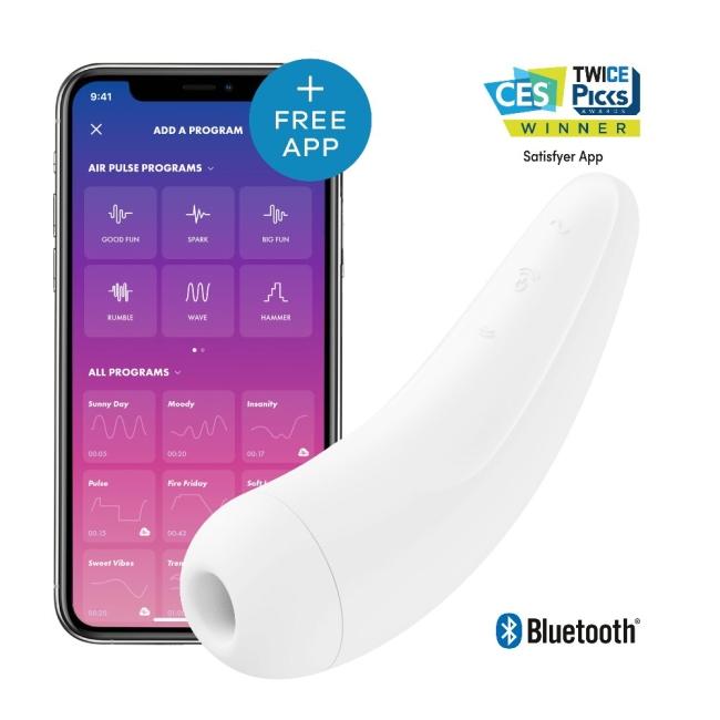 Satisfyer Curvy 2+ White Klitoris Stimülatörü ve App Kontrol Titreşimli Vibratör