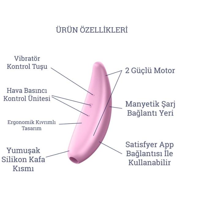 Satisfyer Curvy 3+ Pink Klitoris Stimülatörü ve App Kontrol Titreşimli Vibratör