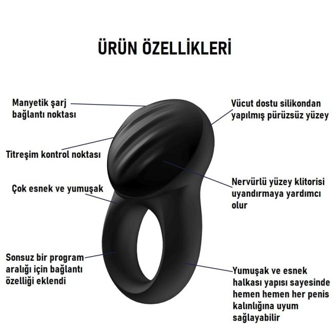 Satisfyer Signet Ring Telefon Kontrol Şarjlı Penis Halkası