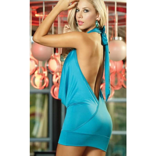 Şık Mavi Seksi Elbise Mavi Standart