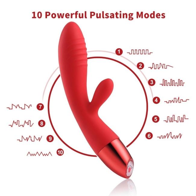 Wowyes V3 Şarjlı Bükülebilen G Spot ve Klitoris Uyarıcı Kırmızı Tavşan Vibratör