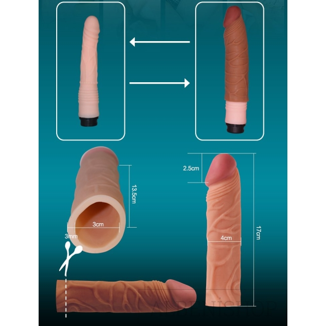 Love Toy X-Tender Realistik Dokuda 2.5 Cm Uzatmalı Penis Kılıfı-LV1051B