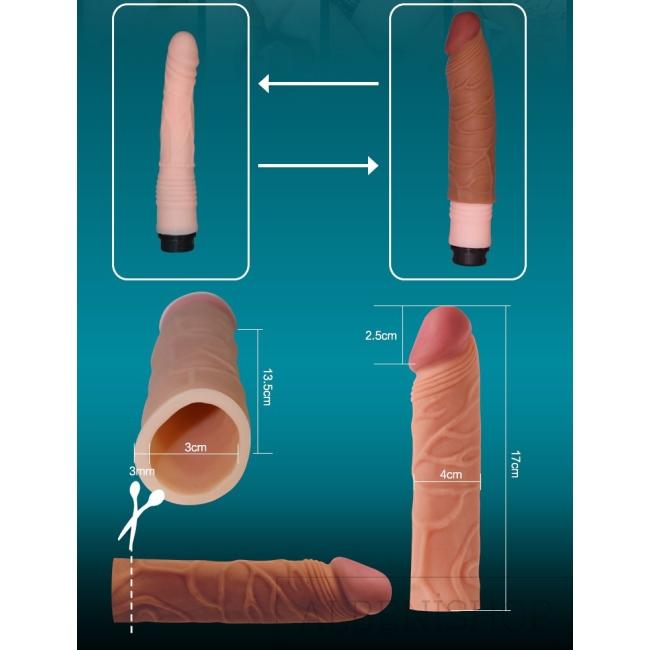 Love Toy X-Tender Realistik Dokuda 2.5 Cm Uzatmalı Penis Kılıfı-LV1051F