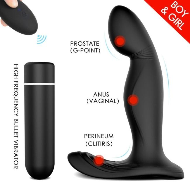 Zeus-Rct Anal Vajinal ve Klitoris Uyarıcı Kumandalı Şarjlı Vibratör