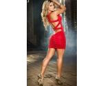 Kırmızı Arkası Çapraz Şık Elbise